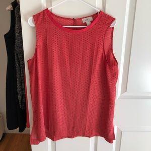 Loft pink dot sleeveless top, size large